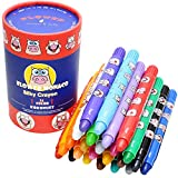 Lebze Washable Jumbo Crayons for Toddlers, 24 Colors Non Toxic Twistable Crayons Set, Silky Bath Crayons for Babies and Kids Flower Monaco