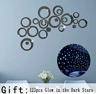 Alrens_DIY(TM) 22pcs Rounds Dots Circles Mirror Surface Crystal Wall Stickers DIY Acrylic 3D Home Decal Living Room Murals Wall Paper Decor adesivo de parede-4 Colors (Black)