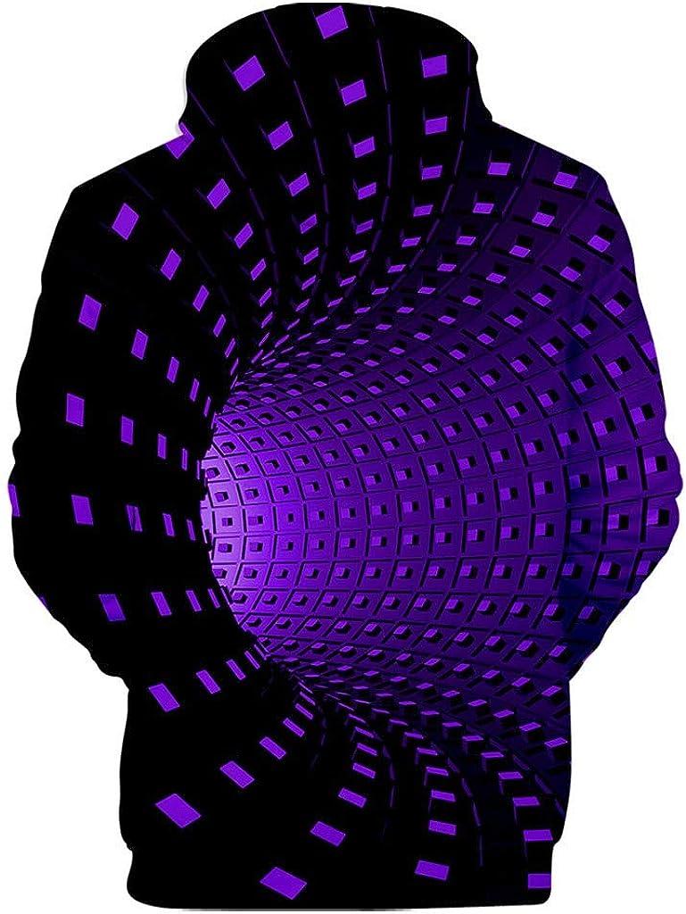 HONGJ 3D Hoodies for Mens, Funny Creative Digital Vortex Printed Hooded Sweatshirts Loose Casual Novelty Pullover Tops