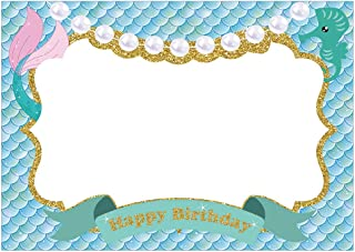 SWYOUN Mermaid Photo Booth Prop Frame Kids Happy Birthday Party Baby Shower Supplies