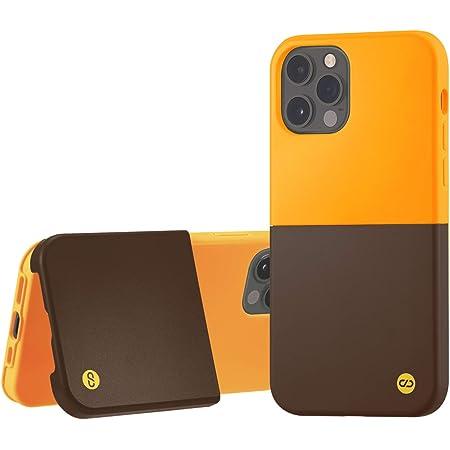 campino iPhone 12 Pro ケース iPhone 12 ケース OLE stand Ⅱ スタンド機能 耐衝撃 レンズ保護 背面 フラット 動画 マット クロム イエロー × セピア ブラウン