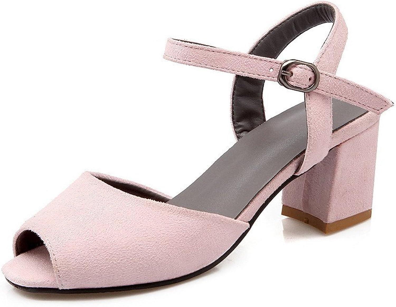 AllhqFashion Women's Buckle Peep Toe Kitten Heels Solid Sandals