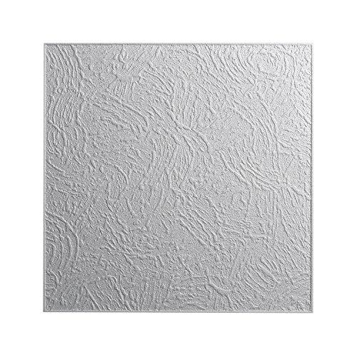 DECOSA Styropor Deckenplatten VIENNE in Putz Optik - 40 Platten = 10 m2 - Deckenpaneele weiß - Dekor Paneele 50 x 50 cm - Decken Styroporpaneele