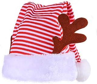 ADKY, ADKYSombrero Decorativo de Rayas Rojas y Blancas de Navidad Calcetines de Felpa cornamentas Laterales Sombrero de decoración de Fiesta de Navidad