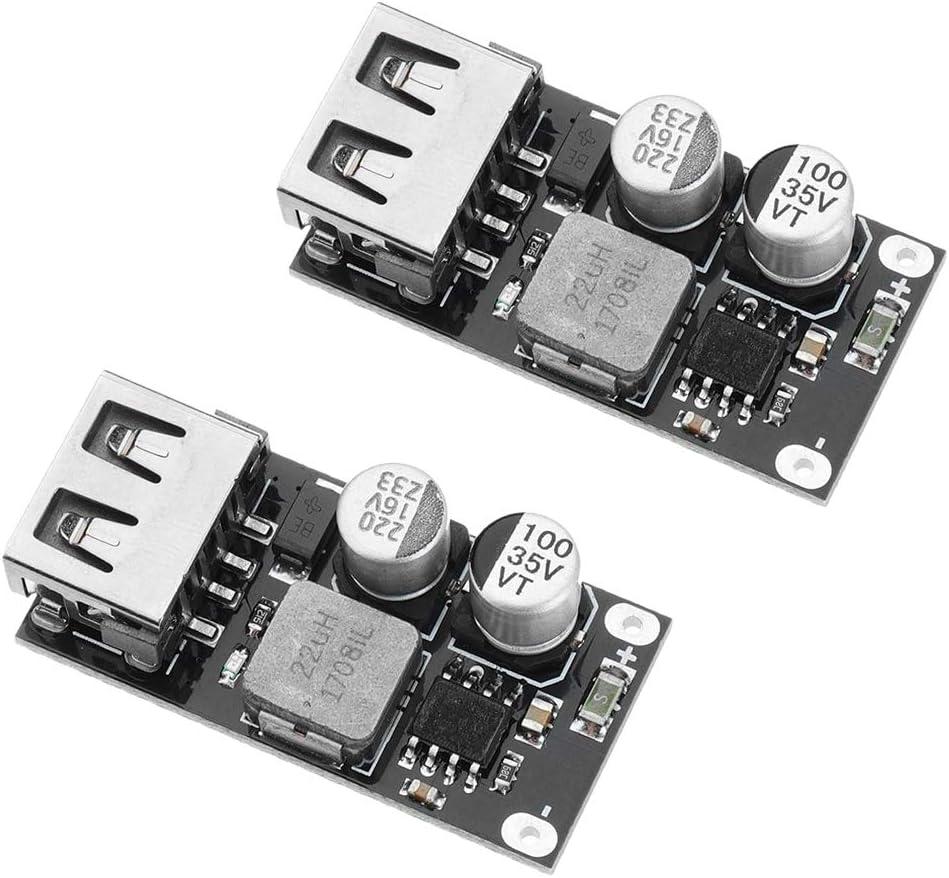 HiLetgo 2PCS DC-DC Power Buck Module 6V-32V12V24V to QC3.0 Fast Charging Single USB Charging Converter Board