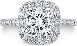 Blocaci Cushion Cut Halo Engagement Rings for Women 10K White Gold, 1-1/4 Carat(ctw) Moissanite Engagement Rings Wedding A...