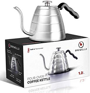 Brewello Pour-Over Coffee Kettle with Built-In Thermometer and Triple-Layer Base -- 40-Ounce/1.2Liter -- Premium Steel Gooseneck Kettle for Baristas and Home Coffee Brewing Enthusiasts