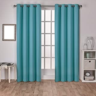 Exclusive Home Curtains Sateen Twill Woven Blackout Grommet Top Curtain Panel Pair, 52x96, Teal, 2 Piece