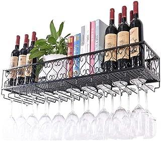 Wine Rack,Wall Mounted Wine Rack Metal Iron Multifunction Wall Hanging Storage Shelf Wine Bottles Holder Easy to Install S...