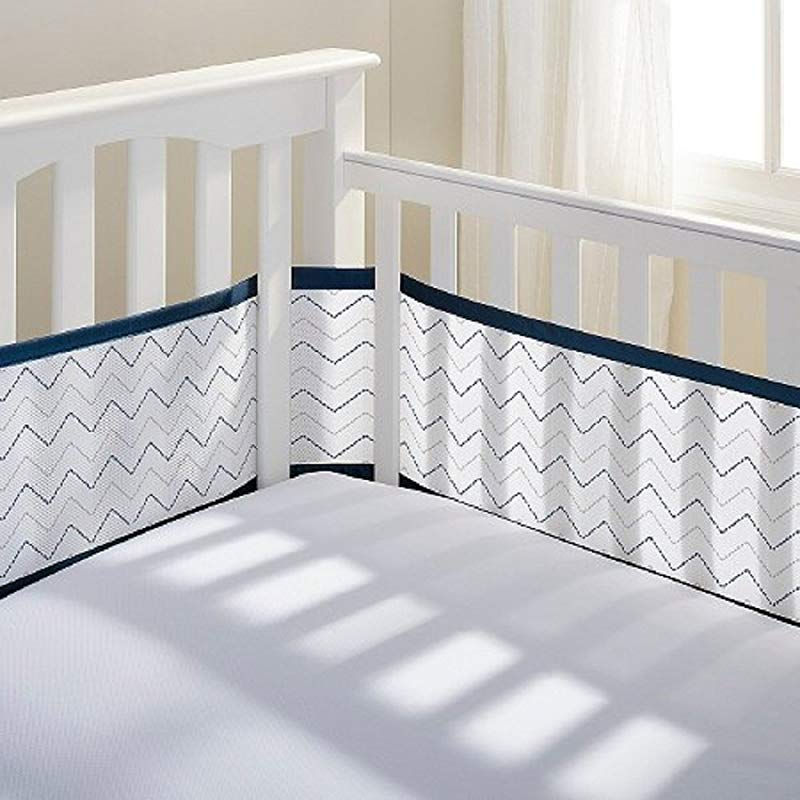 Breathable Mesh Crib Liner Starlight White And Gray Navy Chevron