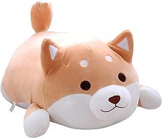 Shiba Inu Dog Plush Pillow, Cute Corgi Akita Stuffed Animals Doll Toy Gifts for Valentine's Gift, Christmas,Sofa Chair, brown round eye, 22.8
