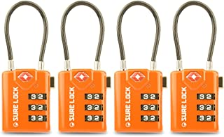 TSA Compatible Travel Luggage Locks, Inspection Indicator, Easy Read Dials (ORANGE 4)