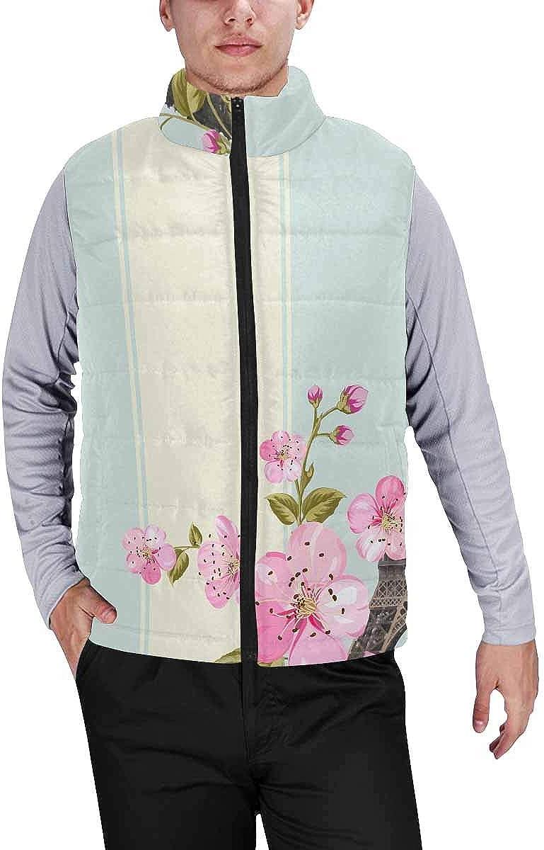 InterestPrint Men's Winter Lightweight Sleeveless Padded Vest Flowers and Skulls