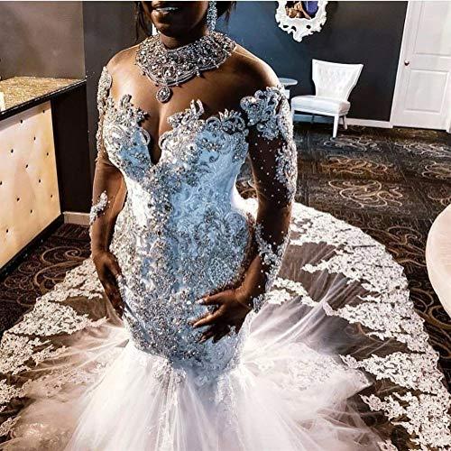 QING XIN-1225 Abiti da Sposa Abito da Sposa in Rilievo di Cristallo Robe de mariée Lusso Illusione Maniche Mermaid Abito da Sposa Abiti di Cerimonia Libano Abiti da Cerimonia