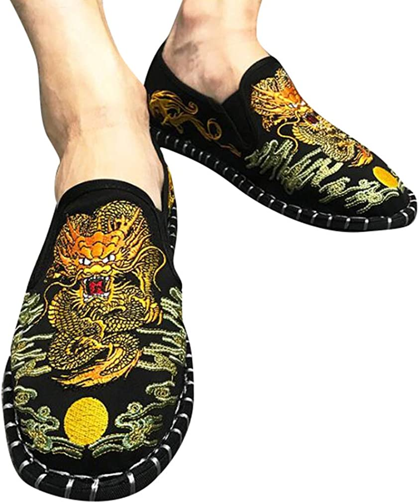 Mens Flat Shoes Couples Fashion Espadrilles Chinese Tranditional Print Loafers Unisex Embroider Harajuku Canvas Shoes Slip-On Casual Shoes