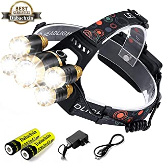 LED Headlamp,Dabachxin 10000 Lumen Brightest Rechargeable Headlight Flashlight 4 Modes Waterproof Zoomable Hardhat Head Lamp Best for Camping Hiking Hunting Outdoor (5 LED)