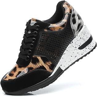 فيسكو حذاء رياضي ويدج جلد الفهد للنساء