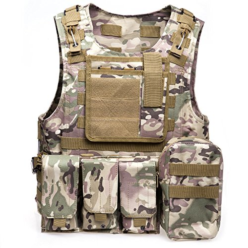 MOLLE Vest - Tactical Vest für Airsoft, Paintball - Tactical Military Vest mit Multicam-Muster - Verstellbare leichte Kampfweste - Military Camo Chest Rig (CP Camouflage)