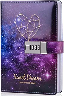 Starry Sky Lock Leather Notebook,Combination Lock Journal,Personal Constellation Writing Diary,Gifts for kids girls women,Hard Cover,Colored Pages,Size B6(7.4 X 5.1 Inch)