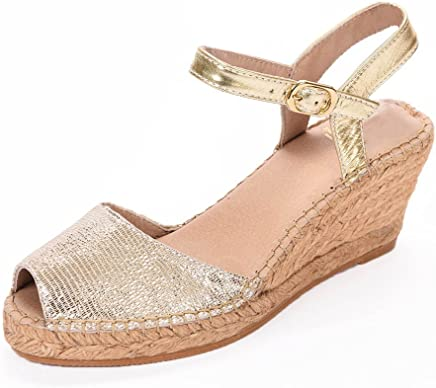 2749f2613a ANDREW STEVENS Anna Espadrille Shoes for Women | Leather Wedge Heel Sandal  with Ankle Strap Buckle