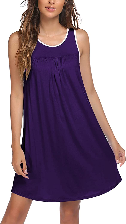 Ekouaer Women's Nightgowns, Sleeveless Night Shirts Comfy Tank Sleep Dress Jersey Chemise Loose Sleepwear Soft Sleepshirt