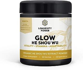 Glow Organic He Shou Wu Dual Extract Powder, 20:1 Concentration, 160 Servings, 240g (8.4 oz)