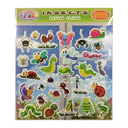 Insects & Bugs (by Incredible Gel and Window Clings) - Reusable Puffy Sticker Window Clings for Kids and Toddlers - Ladybug, Butterflies and More