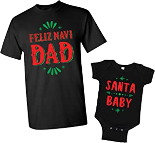 Feliz Navi Dad & Santa Baby Men's T-Shirt & Infant Bodysuit Matching Set