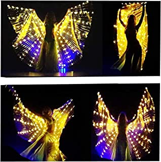 SHINYOU LED Isis Wings Glow Light Up Belly Dance Costumes with Sticks Performance Clothing Carnival Halloween Gold