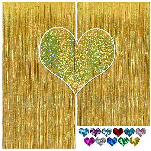 CYLMFC Gold Fringe Curtain - 2 Packs 3ftx8ft Sparkle Metallic Party Backdrop Curtain Photo Booth Props Birthday Decorations Gold Birthday Backdrop