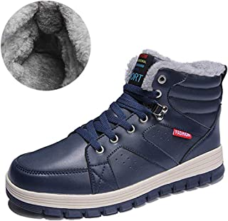 KRIMUS Mens Winter Ankle Snow Boots High Tops Cold Weather Boots with Fur Lining for Outdoor