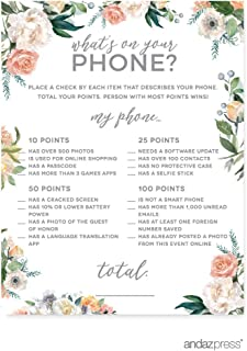 Andaz Press Peach Coral Floral Garden Party Baby Shower Collection, What's on Your Phone? Game Cards, 20-Pack, Games Activities and Decorations