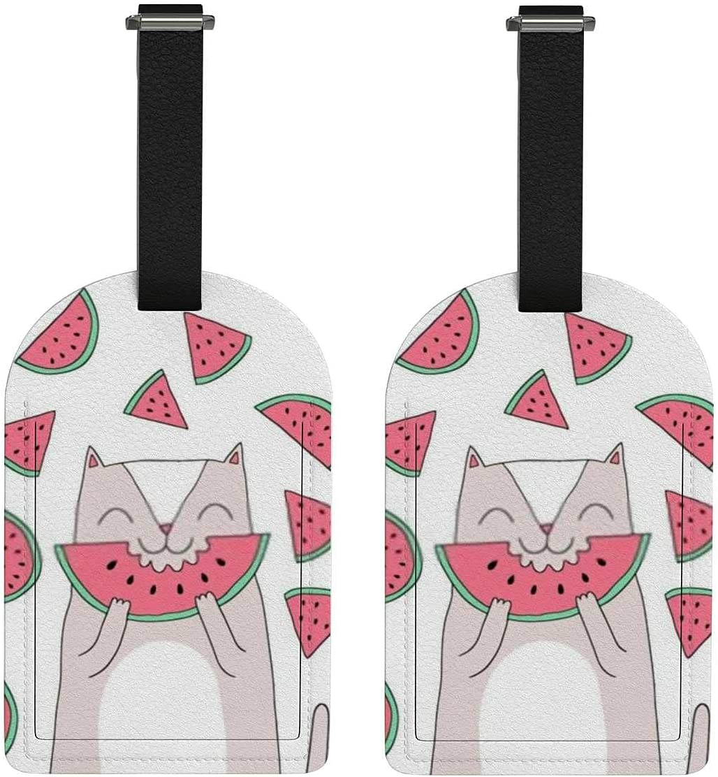 Set of 2 Dedication Luggage Max 70% OFF Tag with Cat Watermelon Privacy Cute Back Full