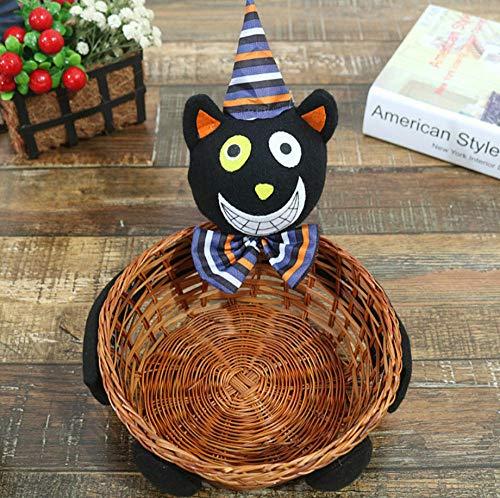 Yuwo mand voor snoepjes voor Halloween, handgeweven fruitmand, tafeldecoratie, bamboemand, pompoen Zwarte kat