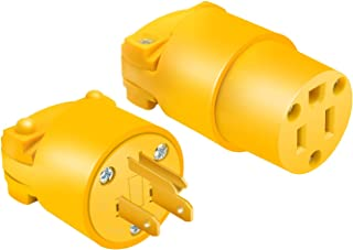 STARELO Electrical Replacement Plug & Connector Set Extension Cord Ends Yellow Shell 125V 15A 2Pole 3Wire NEMA 5-15P & 5-1...