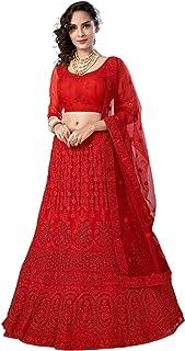 تنورة ليهينغا شولي من تصميم النساء الهنديات الحمراء اللامعة للحفلات والحجر 6232