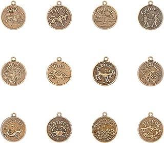 PandaHall Elite 24 Pieces Tibetan Bronze Vintage Style Flat Round Zodiac Horoscope Pendant 12 Constellations Charms Beads Jewelry Making