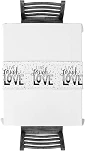 Meet 1998 Cotton Linen Table Runners Live Laugh Love Quote Tablecovers for Kitchen Garden Wedding Parties Dinner Indoor Outdoors Home Decorations Black White 13x90 inches