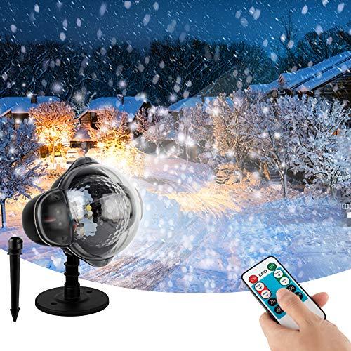 Wilktop Lampe de Projection de Noël, Projecteur de Neige LED avec Télécommande Projecteur Noël IP65 Lumières de Noël Extérieures Projection Décorative pour La Fête de Mariage D'anniversaire d