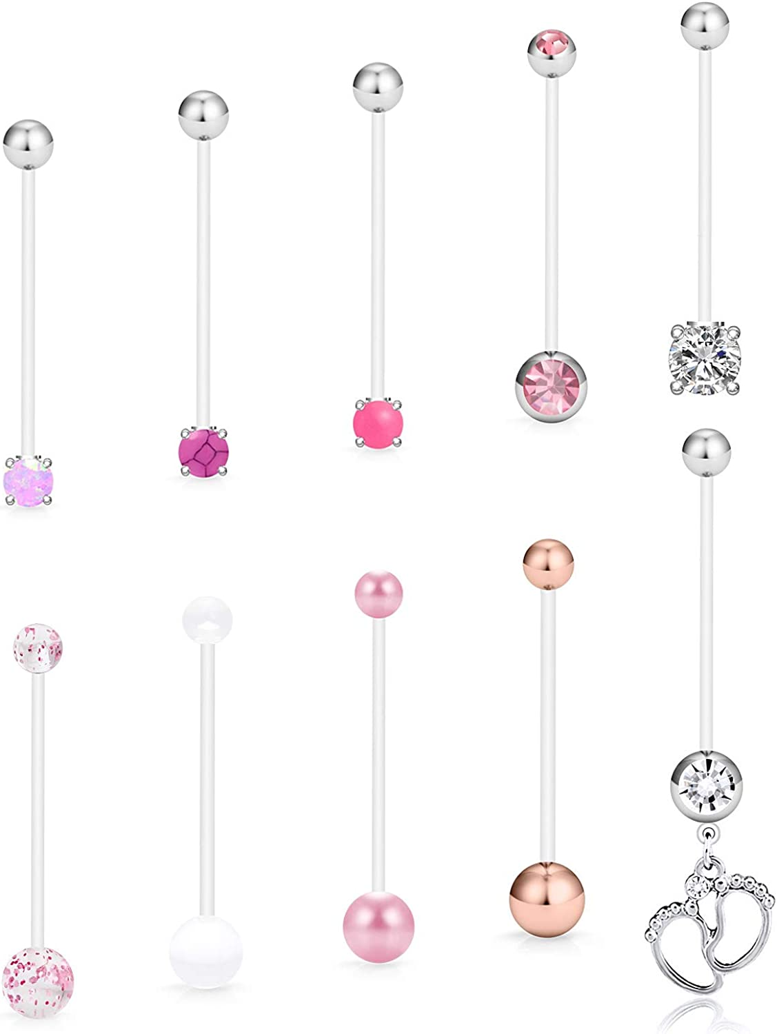 SCERRING Pregnancy Belly Button Rings 14G Clear Acrylic Bioflex Opal Sport Maternity Belly Navel Ring Barbell Body Jewelry Piercing 10PCS