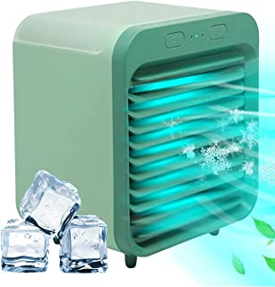 Personal Air Cooler Portable Air Conditioner Humidifier, 2-in-1 Mini Air Cooler, 3 Wind Speeds, Large Water Tank, Ultra Qu...