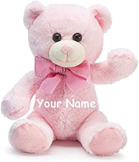 Burton & Burton Personalized Baby Pink Teddy Bear Plush Stuffed Animal Toy for Baby Girl with Custom Name - 7 Inches