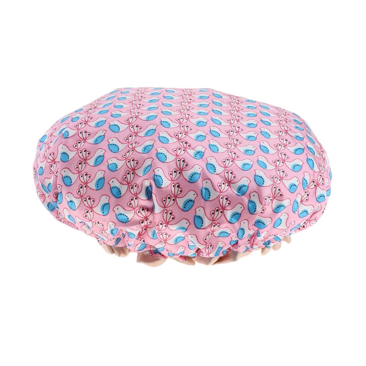 補助金許可する死の顎CUTICATE シャワーキャップ ヘアキャップ 入浴キャップ レディース バス用品 お風呂用 二重層 防水 全3色 - ピンク