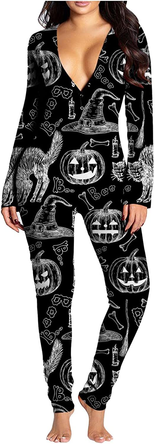 UOCUFY Pajamas for Women,Halloween Printed Rompers V Neck Button-Down Front Buttoned Flap Long Sleeve Jumpsuit for Womens