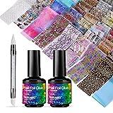 BURANO Nail Foil Glue Gel, 15ML 2 Bottles with 100PCS Foil Sticker Sheets Nails Foils Adhesive and Rubber Nail Push Pen for Designer Transfer Gel Polish