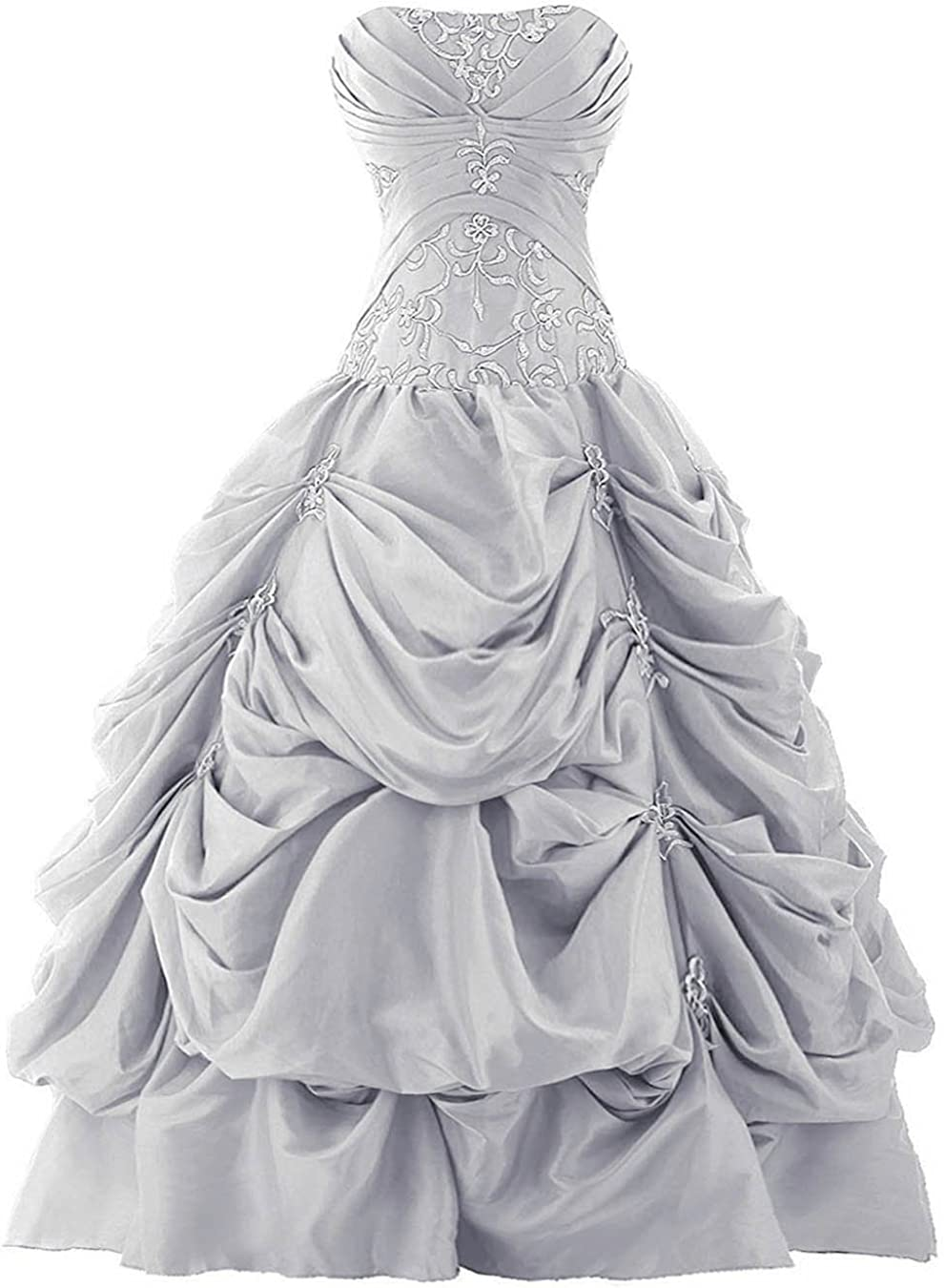 Vantexi Women's Strapless Ranking TOP6 Silver mart Embroidery Qu Pick-up Prom Gown