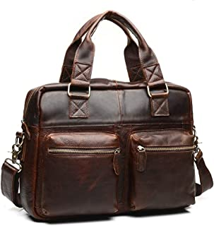 European and American Tend Leather Men's Bags Crazy Horse Leather Retro Men's Handbags (Color : Coffee, Size : S)