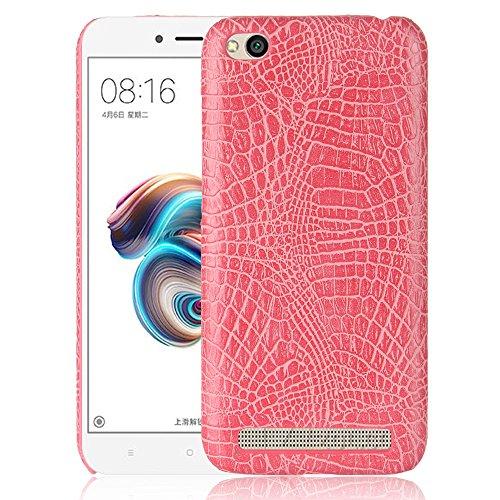 Para Xiaomi Redmi 5A capa de couro sintético com estampa de crocodilo (rosa)