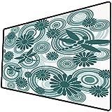 Tappetino per mouse da gioco [600x300 x 3 mm],Libellula, fiori a spirale circolari astratti camomilla margherita figure stampa moderna decorativa, Base antiscivolo 45x45cm