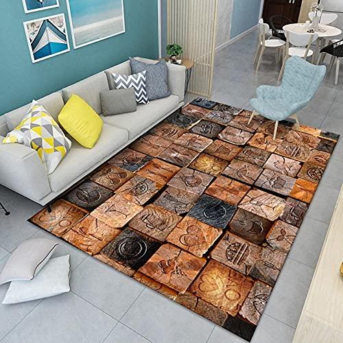 CLYDX Alfombras Salon Habitación Alfombra Pasillo Lavables Rug Dormitorio Sala de Estar Alfombra Antideslizante Alfombra para el Juego de los niños Decora el 60x90 cm (Cuadrado marrón)
